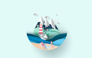 illustration of travel in holiday vacation summer season circle concept,Creative Summertime lady woman sunbathing on beach idea paper craft and cut style,sea view landscape Island relaxation. vector.