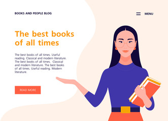A young woman holds books in her hands. Website template about books, literature and reading. Libraries and bookstores. Vector flat illustration