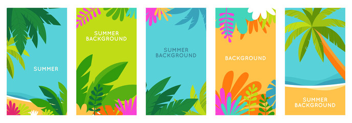 Vector set of social media stories design templates, backgrounds with copy space for text - summer landscape