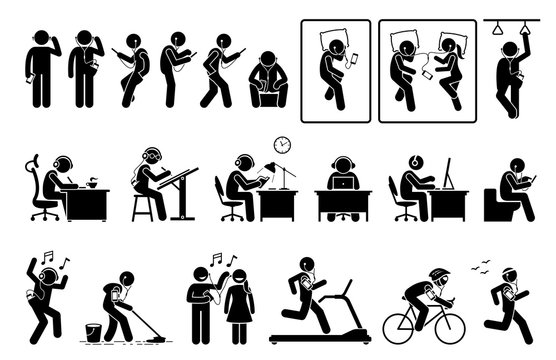 Man using phone and listening to earphone in different poses stick figures pictogram. Artworks depict people or person listening to music, podcast, or video with phone while doing various activities.