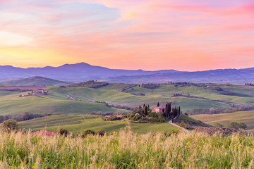 Rural landscape at sunrise in Tuscany, Italy