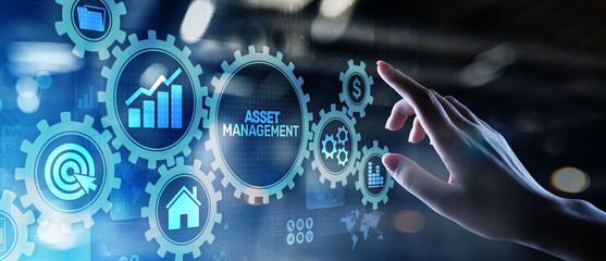 Asset management Business technology internet concept button on virtual screen.