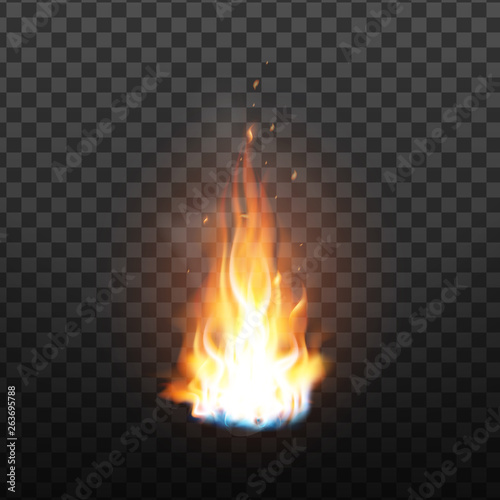 Animation Burning Fire With Sparks Effect Vector  Red Burn Hot