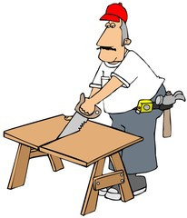 Carpenter cutting wood with a handsaw