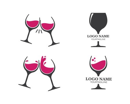 wine glasses toasting logo icon vector