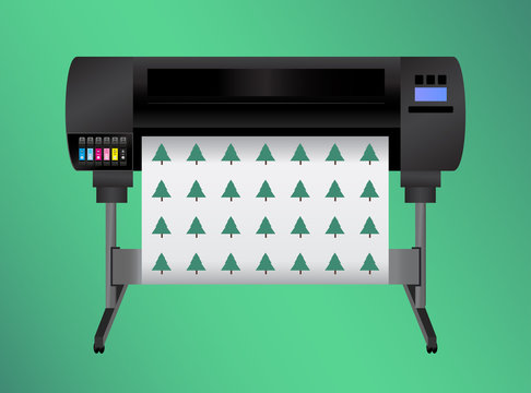 Green eco printing – think before printing. Ecology concept. Large inkjet plotter printer for printing many products – billboards, posters and roll-ups with process and light inks isolated on green.