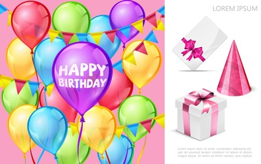 Wall Mural - Realistic Birthday Party Composition