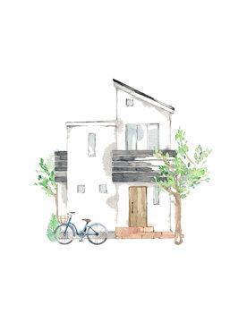 マイホーム、シンボルツリー、自転車