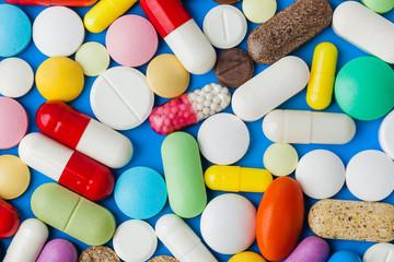 Heap of pills - medical background Wall mural