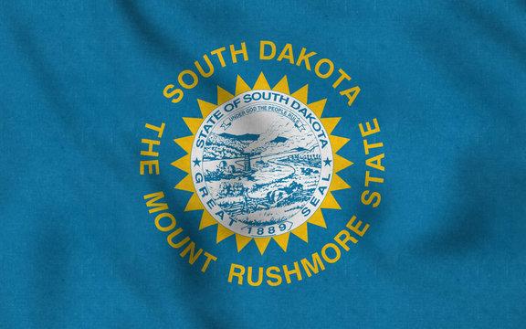 USA Flag of South Dakota gently waving in the wind