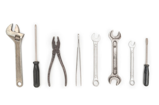 Set with different construction tools isolated on white background