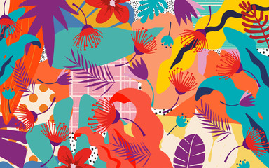 Tropical jungle leaves and flowers background. Colorful tropical poster design. Exotic leaves, flowers, plants and branches art print. Botanical pattern, wallpaper, fabric vector illustration design