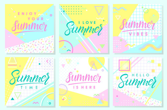 Set of artistic summer cards with bright background,pattern and geometric elements in memphis style.Abstract design templates perfect for prints,flyers,banners,invitations,covers,social media and more