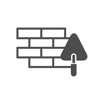 brick wall and trowel vector icon isolated on white background. brick wall and trowel flat icon for web, mobile and user interface design