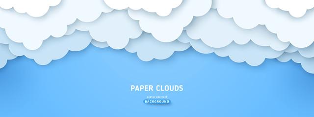 Cloudy paperart illustration Fototapete