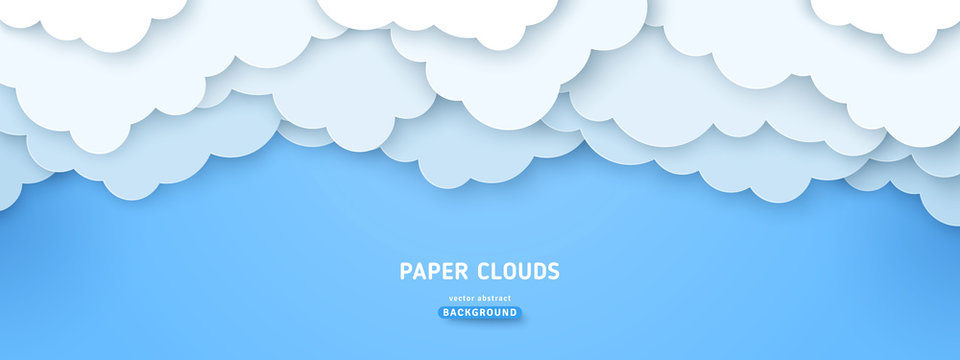 Cloudy paperart illustration