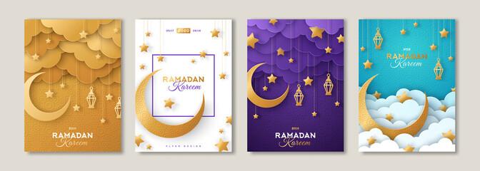 Ramadan posters set with moon