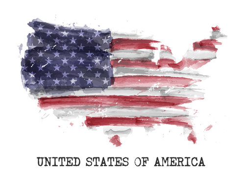 America flag watercolor painting design . Country map shape . Independence day concept ( 4 July 1776 ) . Vector .