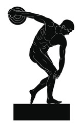 Ancient Greek Sculpture Discobolus. Male athlete prepared to throw the disc. Vector image isolated on a white background.