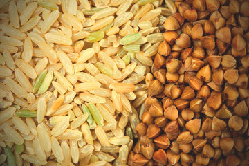 Rice and buckwheat background