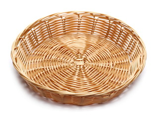 Empty new wooden wicker basket isolated on white background