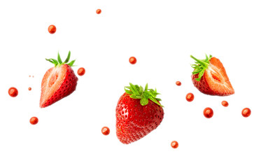 Strawberries and strawberry juice droplets isolated on white background. Healthy food and balanced diet concept. Liquid template design element. 3D illustration