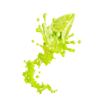 Lime juice splash with lime isolated on white background. Healthy food and balanced diet concept. Liquid template design element. 3D illustration