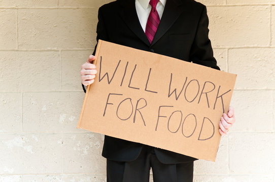 Businessman Holding Will Work For Food Sign on Street Corner, Homelessness, Poverty, Unemployment