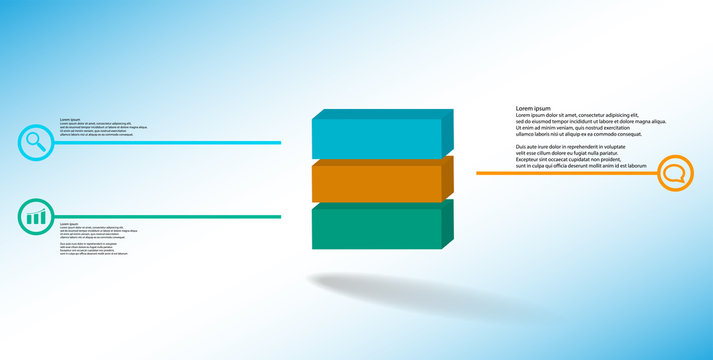 3D illustration infographic template with embossed cube divided to three parts