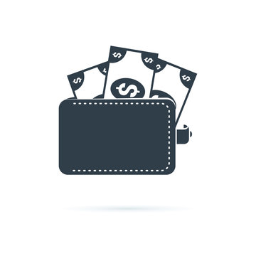 Wallet icon. Affordability sign. Cash savings symbol. Quality design element. Classic style icon. Vector solid icons