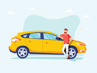 Poster Cartoon cars Happy successful man is standing next to a yellow car on a background. Vector illustration in cartoon style.