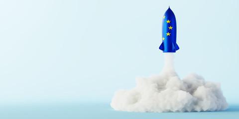 Europe's space race concept, original 3d rendering Wall mural