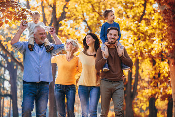Multl generation family in autumn park having fun Wall mural