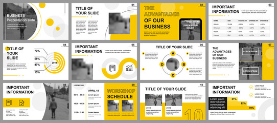 Obraz Business presentation slides templates from infographic elements. Can be used for presentation template, flyer and leaflet, brochure, corporate report, marketing, advertising, annual report, banner. - fototapety do salonu