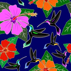 Foto op Canvas Draw Hummingbird and Hibiscus Flower Exotic Vector Seamless Pattern Design