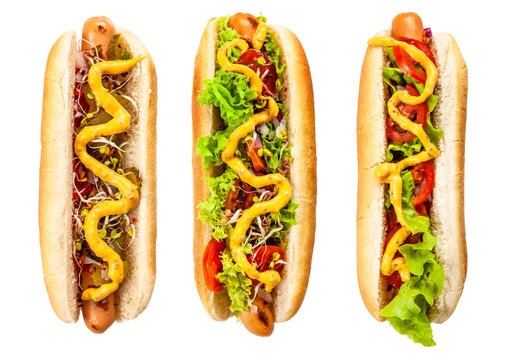 Delicious hotdogs on white background