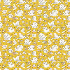 Vector yellow hand drawn snails and flowers repeat pattern texture. Suitable for gift wrap, textile and wallpaper.