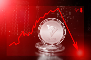 Tron cryptocurrency value price fall drop; tron price down