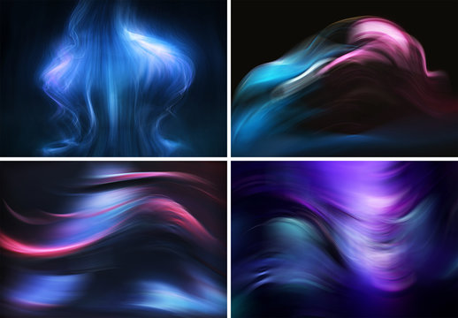 Set of 6 Abstract Smoke Effect Backgrounds