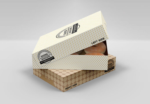 Paper Pastry Boxes Mockup