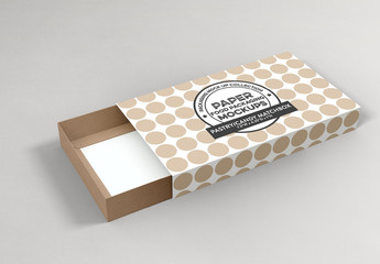 Paper Box with Sliding Lid Mockup