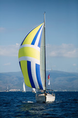 Fototapete - Sailing yacht boats at the Aegean Sea in Greece.