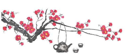 Chinese tea ceremony and a branch of a blossoming sakura.  Pink and red stylized flowers   wild cherry . Watercolor and ink illustration  in style sumi-e, go-hua. Oriental traditional painting.