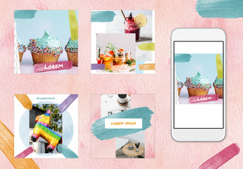 Social Media Post Layout Set with Rainbow Glitter Brush Strokes and Backgrounds