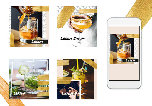 Social Media Post Layout Set with Gold Glitter Brush Strokes and Geometric Accents