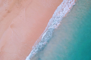 Tropical beach photo taken from drone. Summer vacation holidays concept