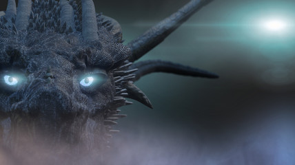 the dragon with blue eyes 3D render