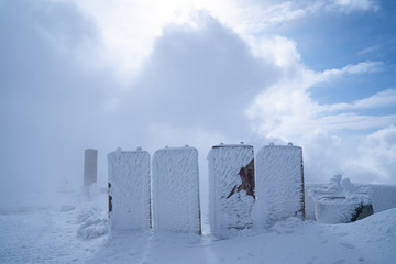 A military barricade covered in ice in the Golan Heights