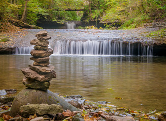 A cairn in front of the Lower Cascades in Glen Helen Nature Preserve - Yellow Springs Ohio