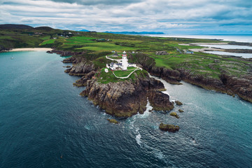 Wall Mural - Aerial view of the Fanad Head Lighthouse in Ireland